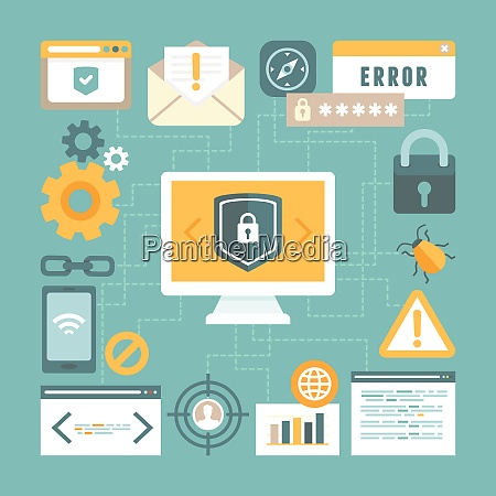 vector internet and information security concept