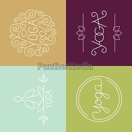 vector linear yoga logo icons