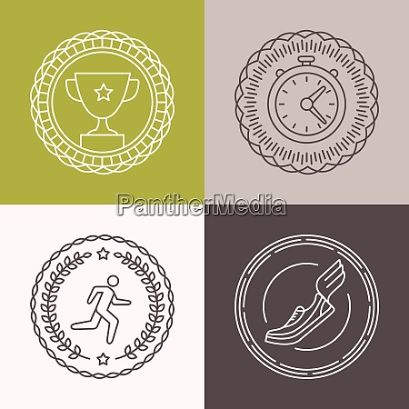 vector linear runnig badges and icons