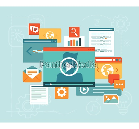 vector e learning concept in flat