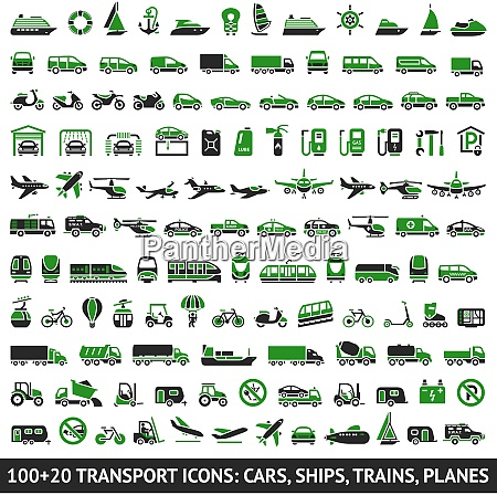 100 and 20 transport green icons