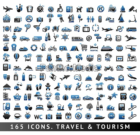 165 bicolor icons travel and tourism