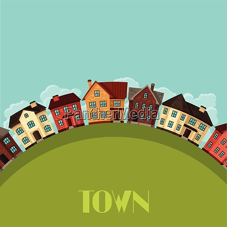town background design with cottages and