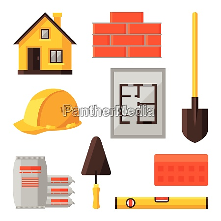 industrial icon set of housing construction