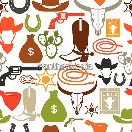wild west seamless pattern with cowboy