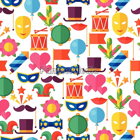 celebration seamless pattern with carnival flat