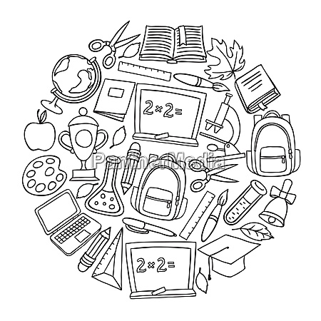 school background with hand drawn icons