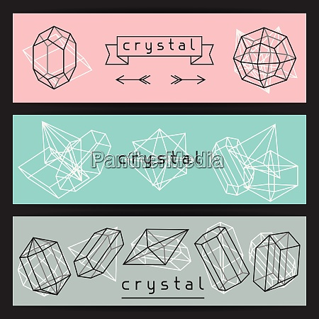 abstract banners with geometric crystals and