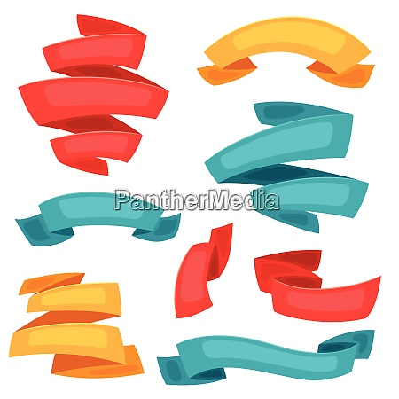 set of decorative ribbons and banners