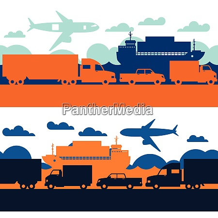 freight cargo transport icons seamless patterns
