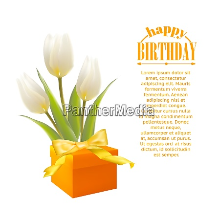 gift and white tulips vector illustration