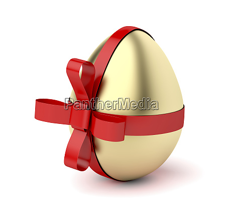 gold egg with red ribbon