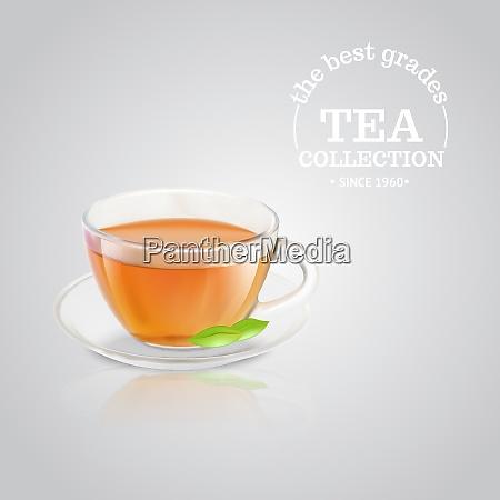 tea cup over grey background vector