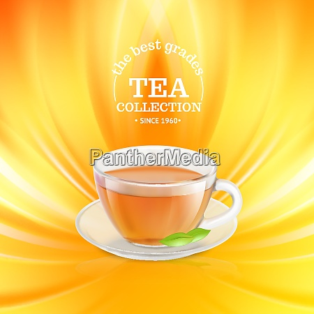 tea cup over orange background vector