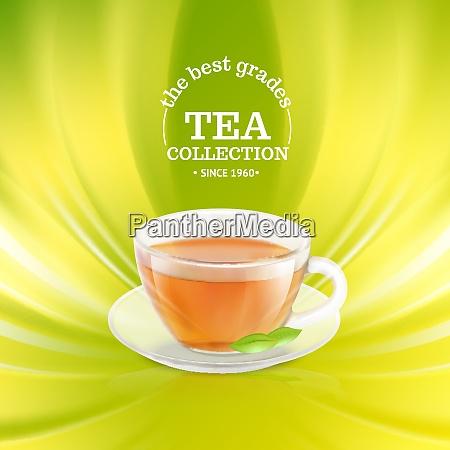 tea cup over green background vector