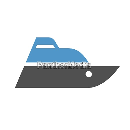 boat gray blue icon isolated