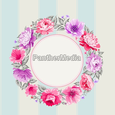 border of flowers in vintage style