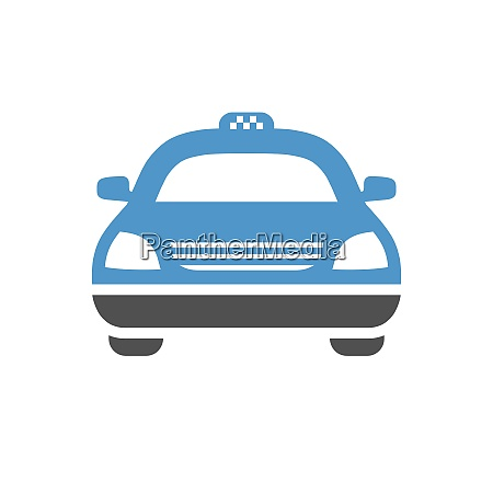 taxi, car, -, gray, blue, icon - 26774412