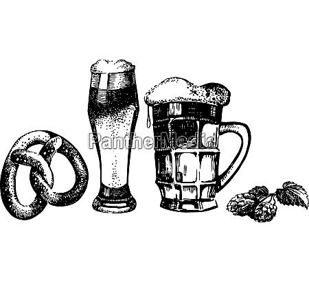 oktoberfest set of beer hops and