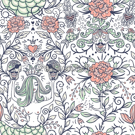 vector floral seamless pattern with vintage