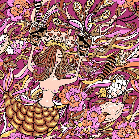vector seamless pattern with mermaids and