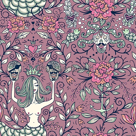 vector vintage seamless pattern with beautiful