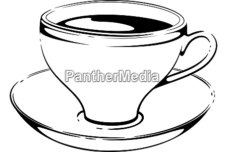 cup of coffee sketch vector on