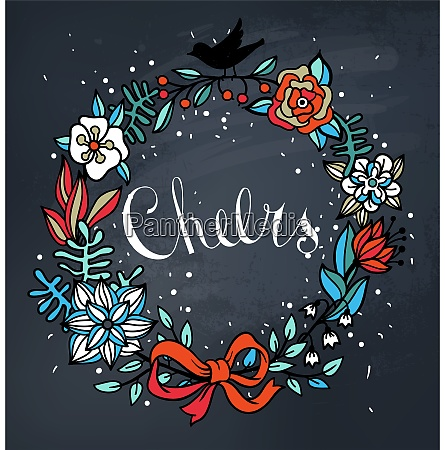 vector floral wreath on a chalkboard
