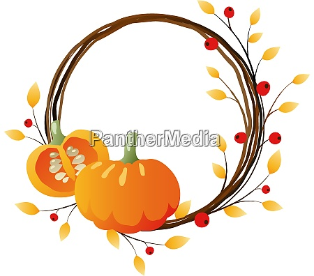 autumn wreath with pumpkins on white