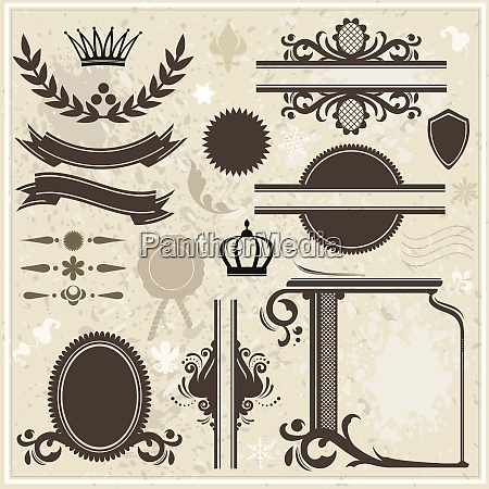collection of design elements on vintage
