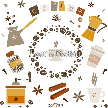 collection of coffee vector design elements