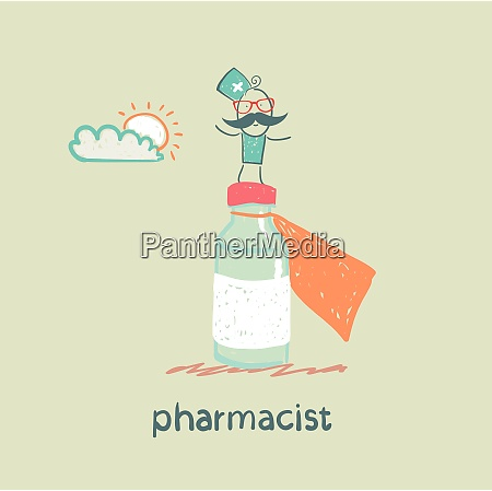 pharmacist is on a big pot
