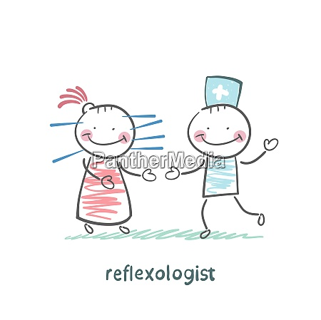 reflexologist works with a patient with