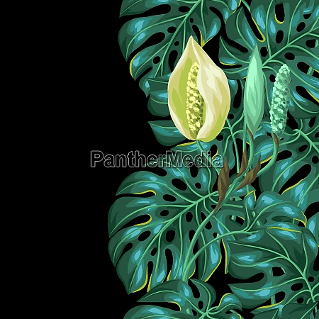 seamless pattern with monstera leaves decorative
