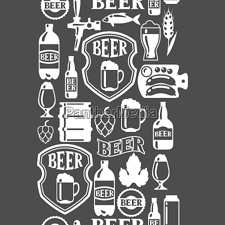 seamless pattern with beer icons and