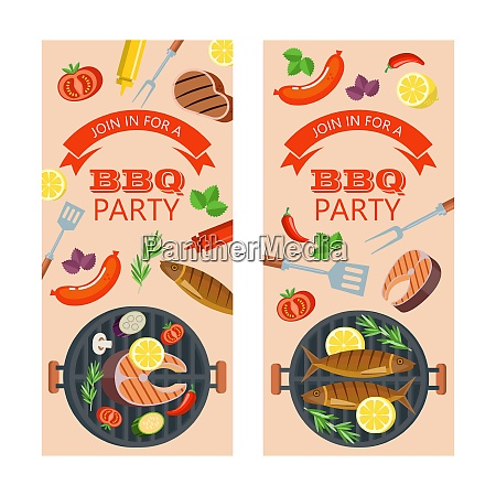 barbecue party grilled fish and vegetables