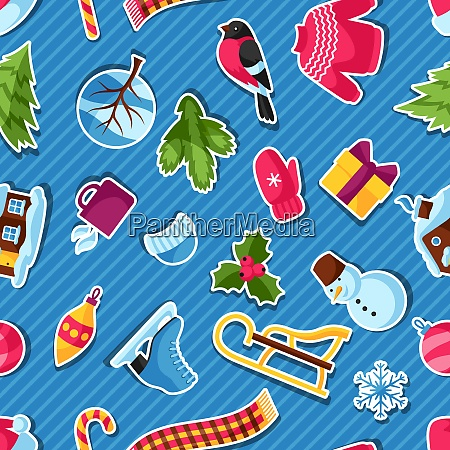 seamless pattern with winter stickers merry