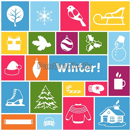 background with winter objects merry christmas