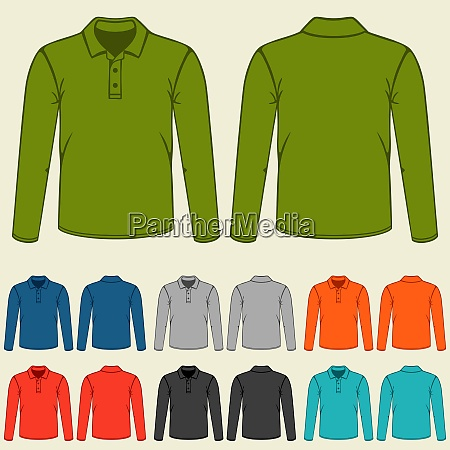 set of colored polo t shirts