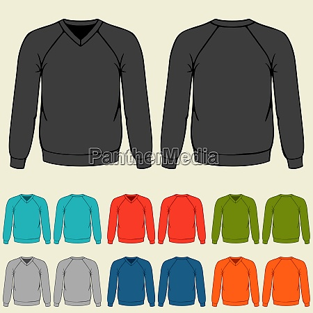 set of colored sweatshirts templates for