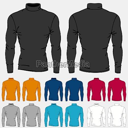 set of colored turtleneck shirts templates