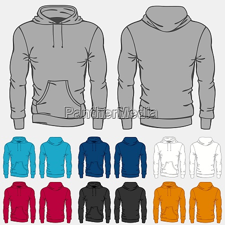 set of colored hoodies templates for