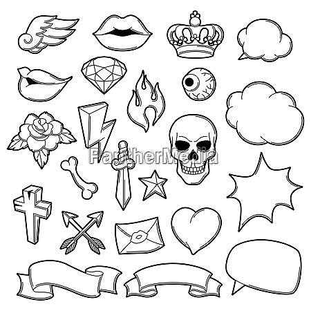 set of retro tattoo symbols cartoon