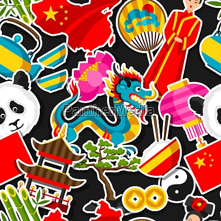 china seamless pattern chinese sticker symbols
