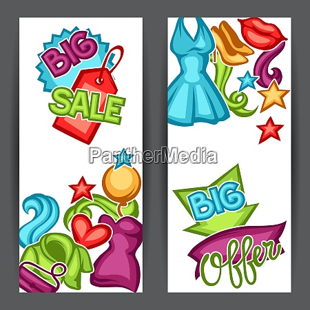 sale banners with female clothing and
