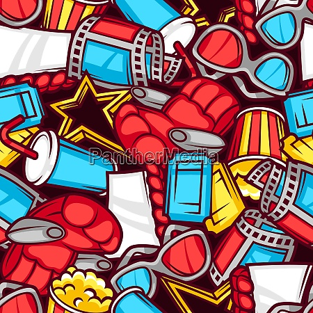 seamless pattern of 3d movie elements