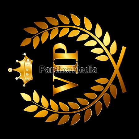 gold award laurel wreath with crown