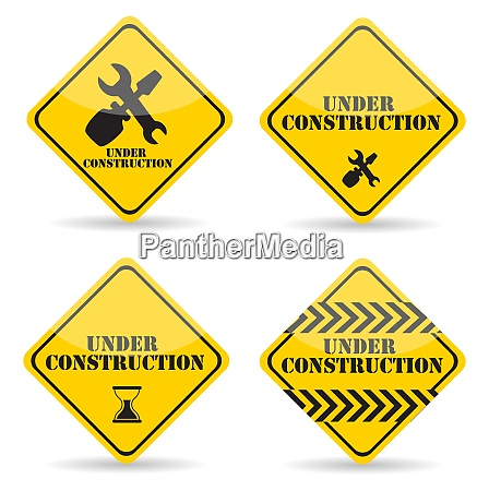 under construction sign set vector illustration