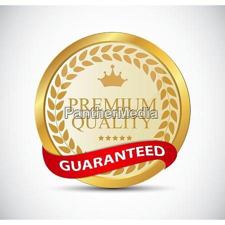 gold premium quality label vector illustration