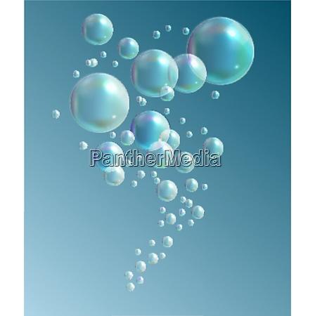 transparent bubbles on dark blue background